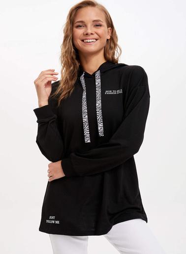 DeFacto Kapüşonlu Sweat Tunik Siyah